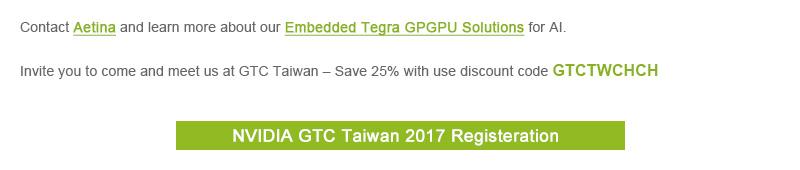 Edge AI, GTC Taiwan 2017, Embedded Tegra GPGPU